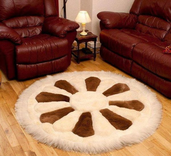 New Round Alpaca Fur Rug House