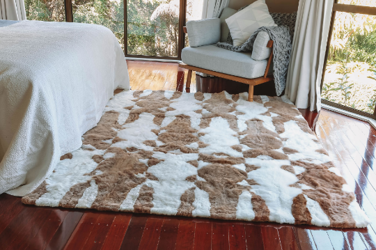 Premium Baby Alpaca Fur Rug Face To